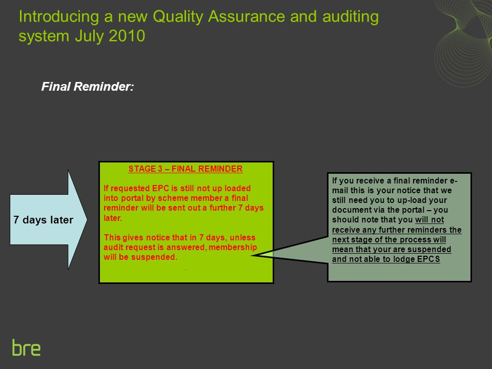 Final Reminder: Introducing a new Quality Assurance and auditing system July 2010 STAGE 3 – FINAL REMINDER If requested EPC is still not up loaded into portal by scheme member a final reminder will be sent out a further 7 days later.