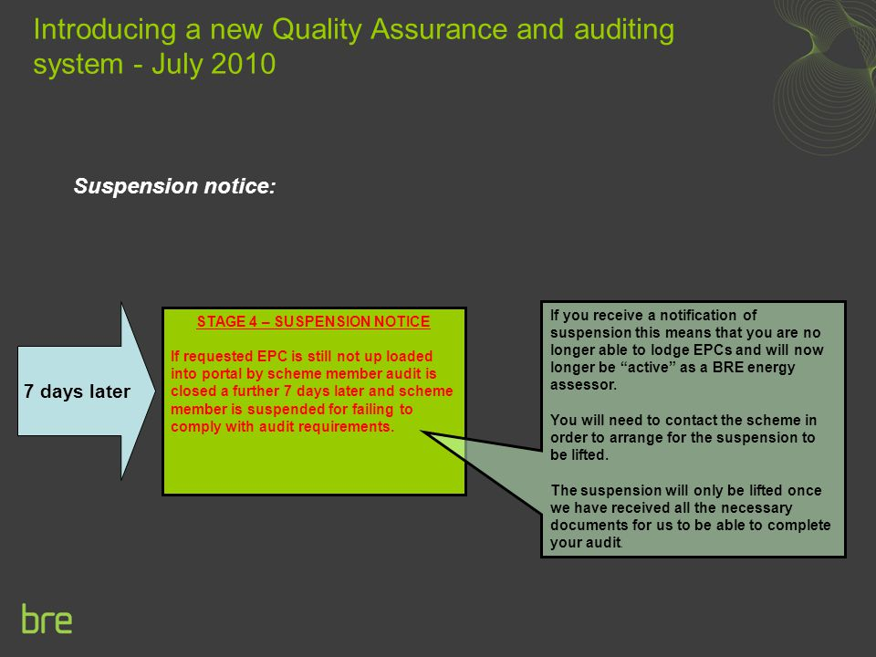 Suspension notice: Introducing a new Quality Assurance and auditing system - July 2010 STAGE 4 – SUSPENSION NOTICE If requested EPC is still not up loaded into portal by scheme member audit is closed a further 7 days later and scheme member is suspended for failing to comply with audit requirements.