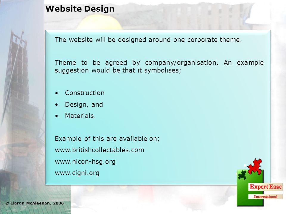 The website will be designed around one corporate theme.