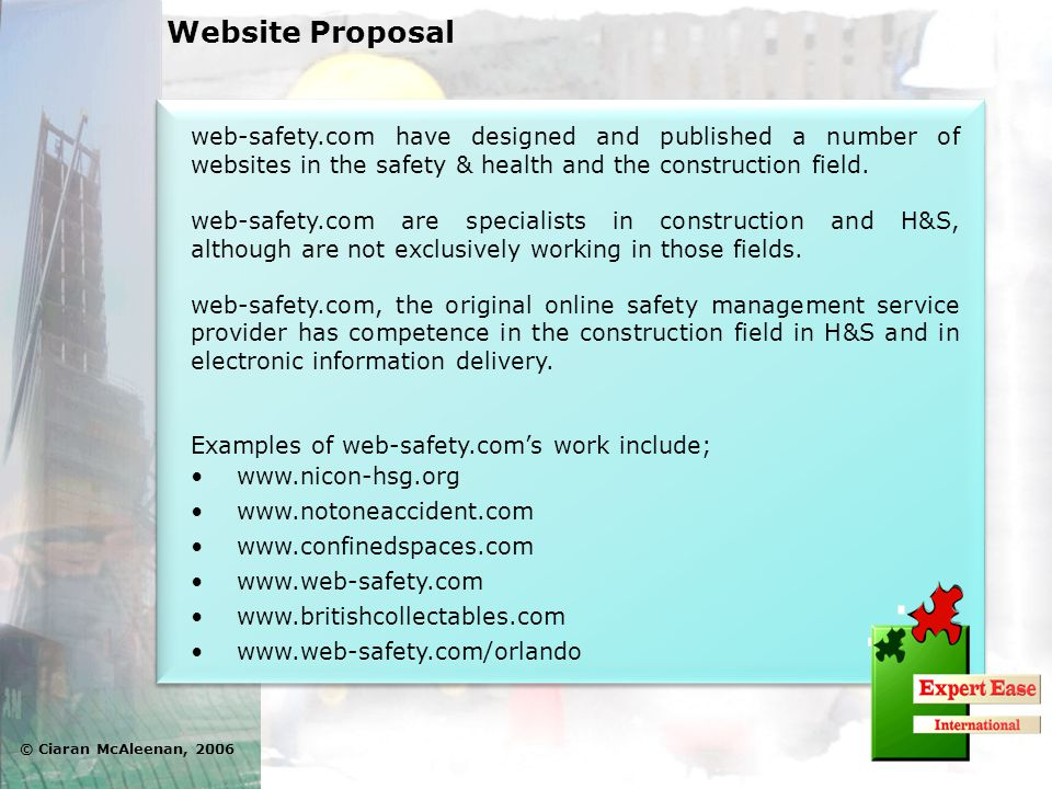 web-safety.com have designed and published a number of websites in the safety & health and the construction field. web-safety.com are specialists in c