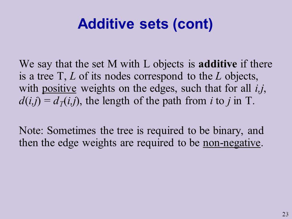 23 Additive sets (cont) We say that the set M with L objects is additive if there is a tree T, L of its nodes correspond to the L objects, with positi