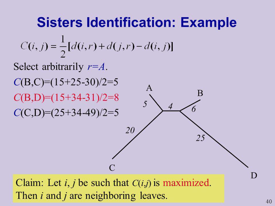 40 Sisters Identification: Example A B C D 5 4 6 20 25 Select arbitrarily r=A. C(B,C)=(15+25-30)/2=5 C(B,D)=(15+34-31)/2=8 C(C,D)=(25+34-49)/2=5 Claim