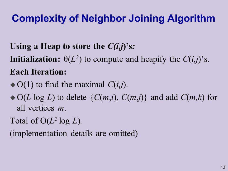 43 Complexity of Neighbor Joining Algorithm Using a Heap to store the C(i,j)s: Initialization: θ(L 2 ) to compute and heapify the C(i,j)s. Each Iterat