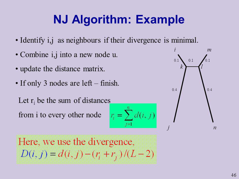 46 NJ Algorithm: Example Identify i,j as neighbours if their divergence is minimal. Combine i,j into a new node u. update the distance matrix. If only