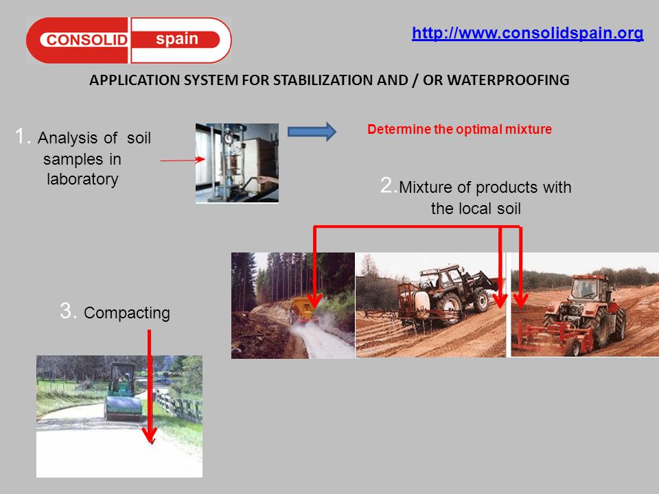 http://www.consolidspain.org APPLICATION SYSTEM FOR STABILIZATION AND / OR WATERPROOFING 1. Analysis of soil samples in laboratory Determine the optim