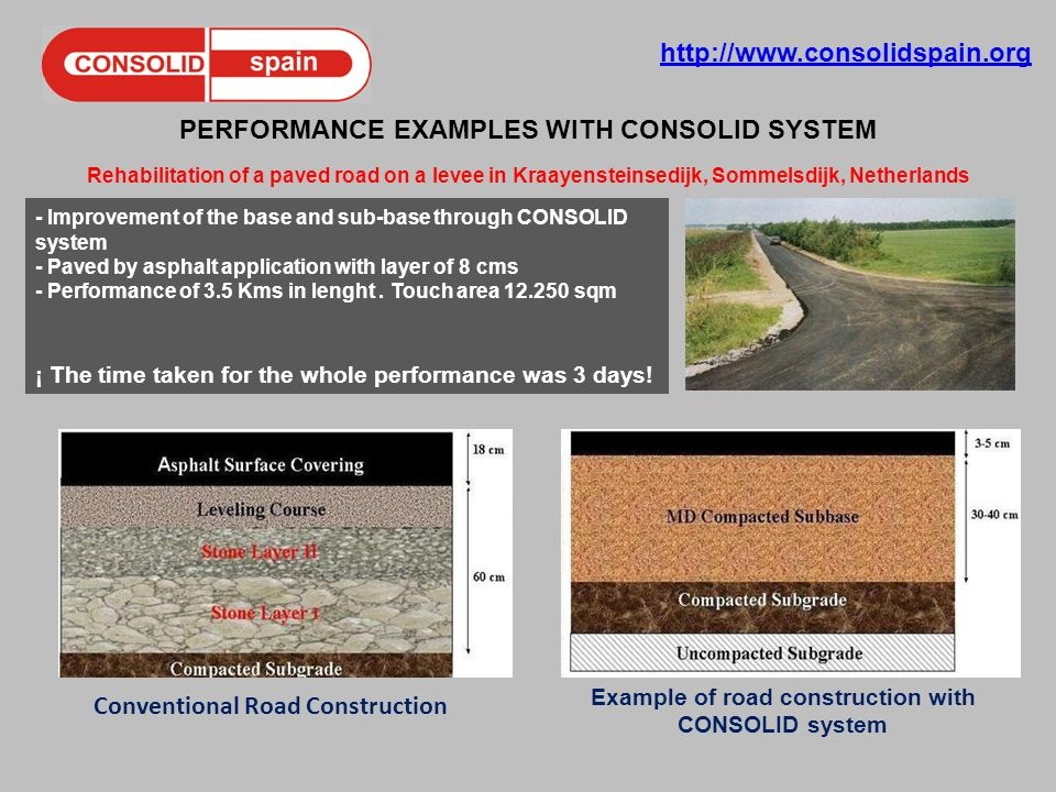 http://www.consolidspain.org PERFORMANCE EXAMPLES WITH CONSOLID SYSTEM Rehabilitation of a paved road on a levee in Kraayensteinsedijk, Sommelsdijk, Netherlands - Improvement of the base and sub-base through CONSOLID system - Paved by asphalt application with layer of 8 cms - Performance of 3.5 Kms in lenght.