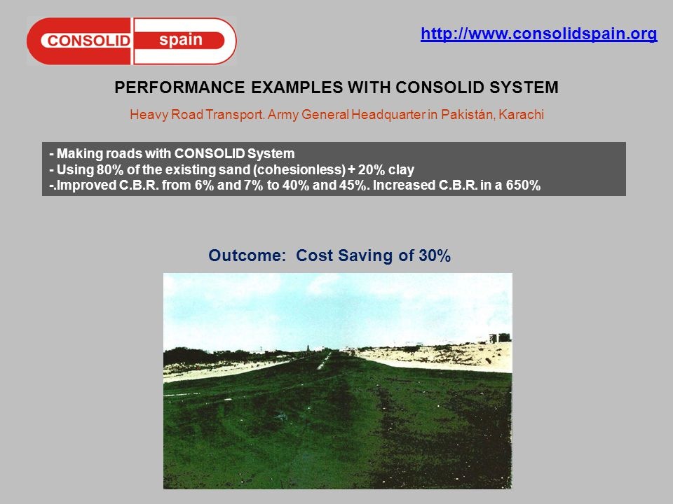 http://www.consolidspain.org PERFORMANCE EXAMPLES WITH CONSOLID SYSTEM Heavy Road Transport.