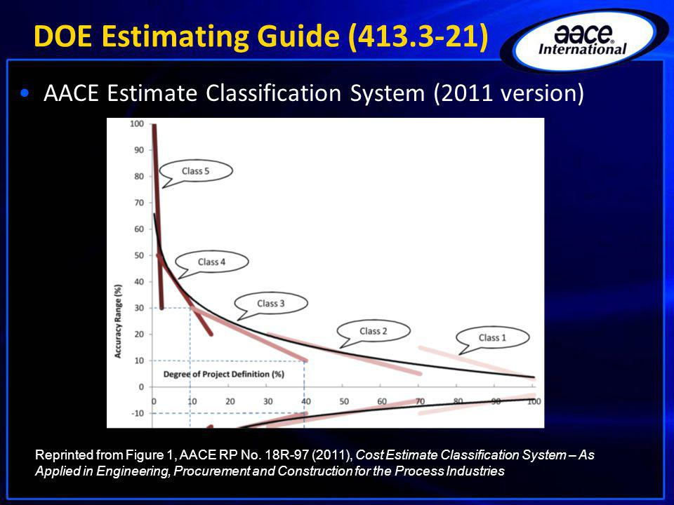 DOE Estimating Guide (413.3-21) AACE Estimate Classification System (2011 version) Reprinted from Figure 1, AACE RP No. 18R-97 (2011), Cost Estimate C
