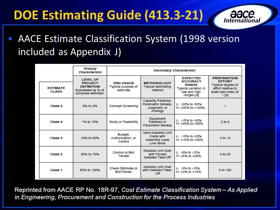 DOE Estimating Guide (413.3-21) AACE Estimate Classification System (1998 version included as Appendix J) Reprinted from AACE RP No. 18R-97, Cost Esti