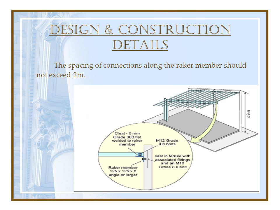 DESIGN & construction DETAILS The spacing of connections along the raker member should not exceed 2m.