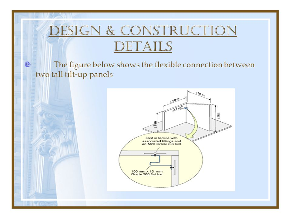 DESIGN & construction DETAILS The figure below shows the flexible connection between two tall tilt-up panels