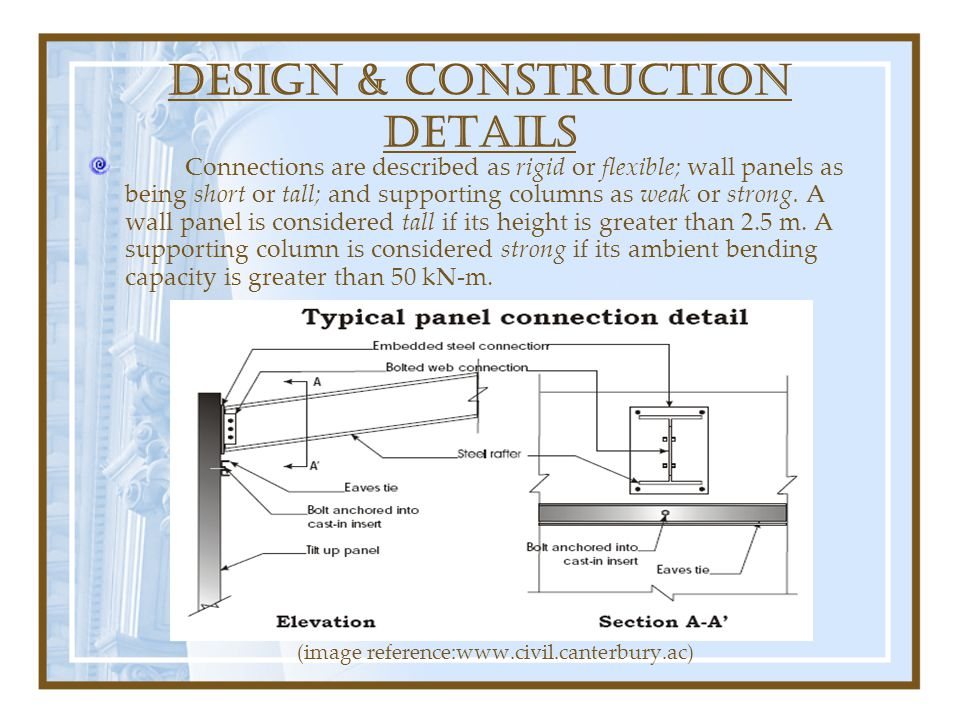 DESIGN & construction DETAILS Connections are described as rigid or flexible; wall panels as being short or tall; and supporting columns as weak or st