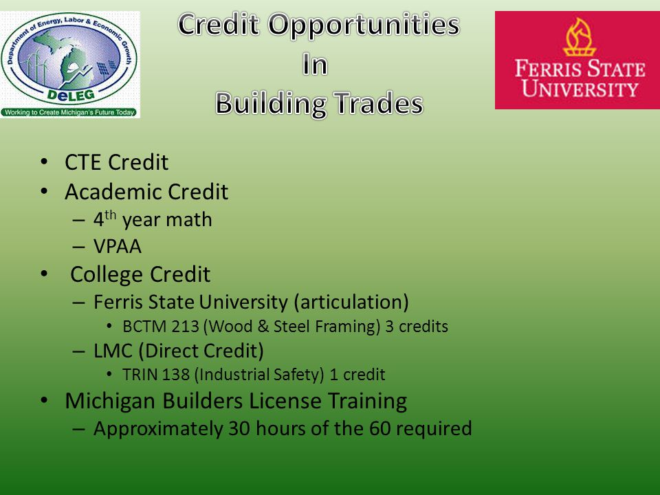 CTE Credit Academic Credit – 4 th year math – VPAA College Credit – Ferris State University (articulation) BCTM 213 (Wood & Steel Framing) 3 credits – LMC (Direct Credit) TRIN 138 (Industrial Safety) 1 credit Michigan Builders License Training – Approximately 30 hours of the 60 required