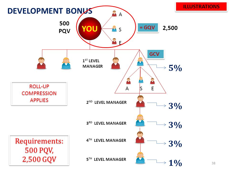 DEVELOPMENT BONUS MANAGERS AND ABOVE 37 DOWNLINEINCENTIVES 1 ST LEVEL5% 2 ND LEVEL3% 3 RD LEVEL3% 4 TH LEVEL3% 5 TH LEVEL1%
