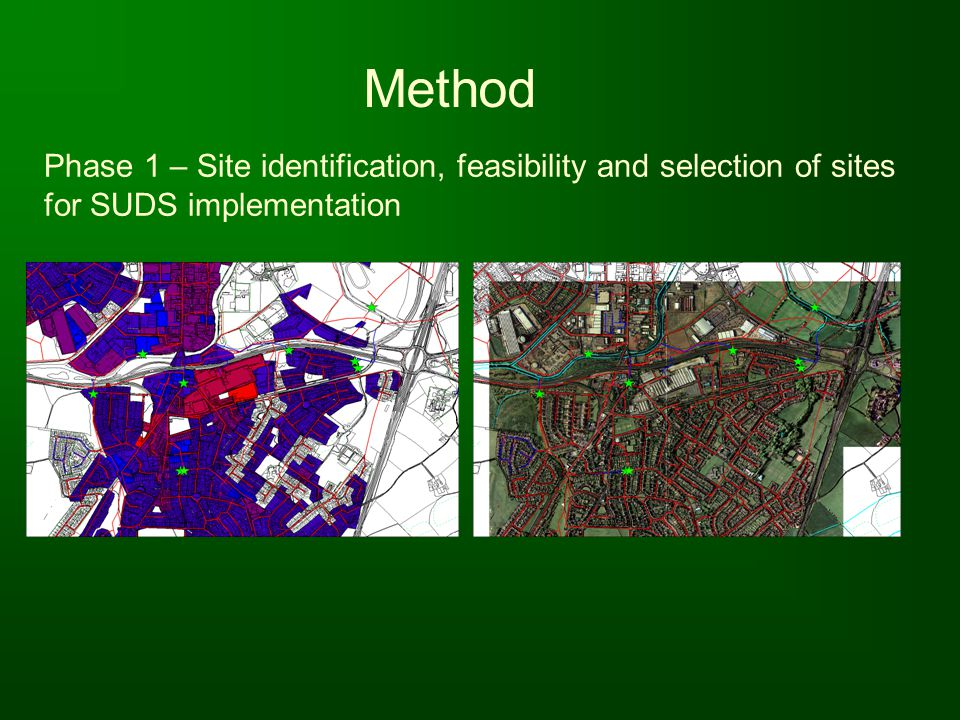 Method Phase 1 – Site identification, feasibility and selection of sites for SUDS implementation