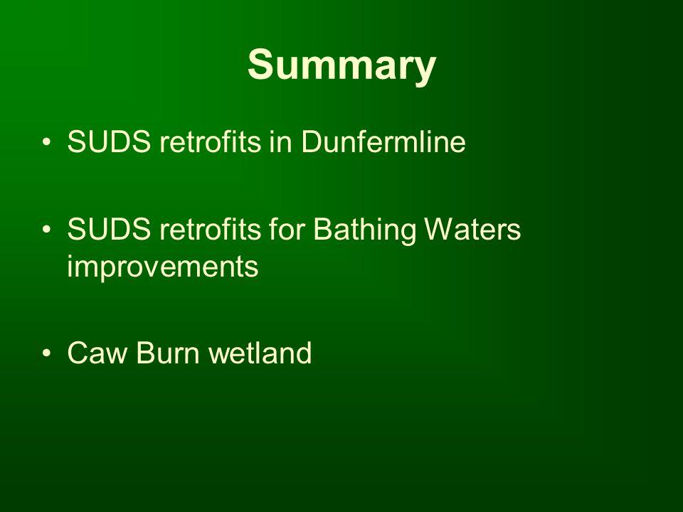 Summary SUDS retrofits in Dunfermline SUDS retrofits for Bathing Waters improvements Caw Burn wetland