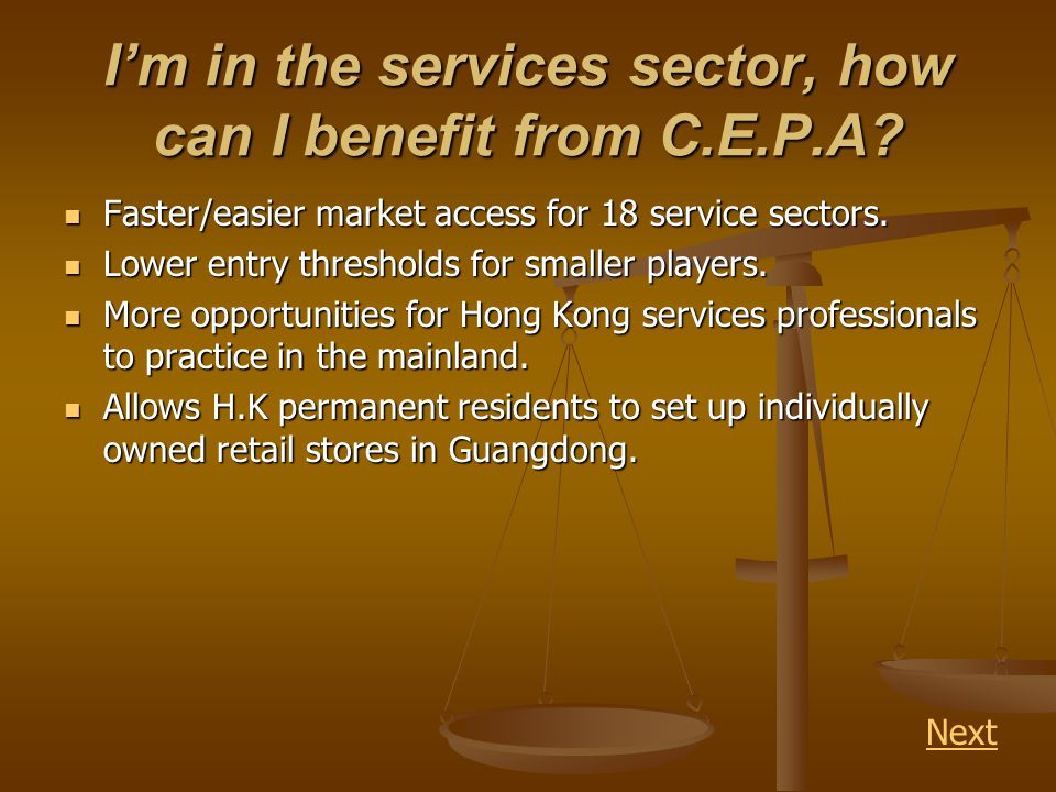 Im in the services sector, how can I benefit from C.E.P.A.