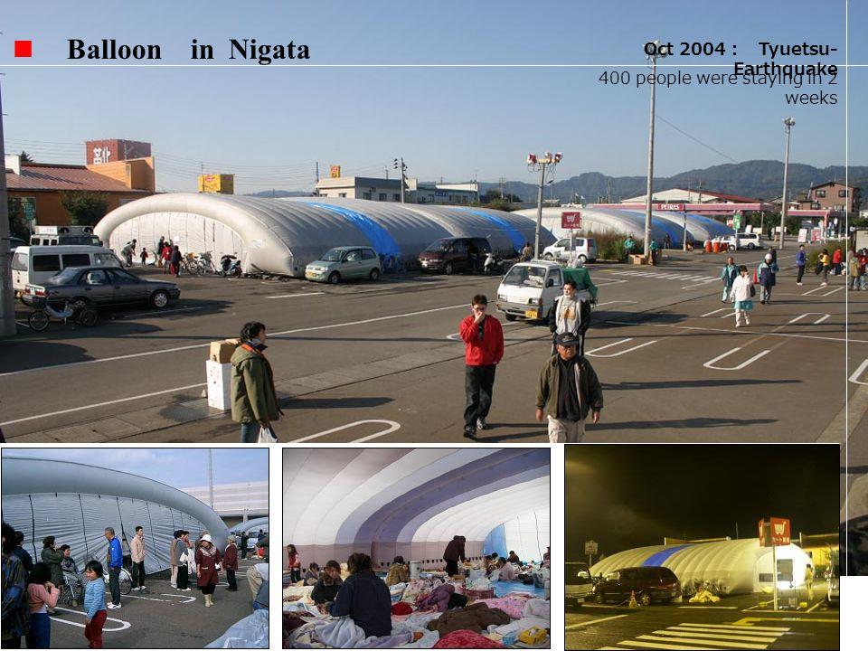 Balloon in Nigata Oct 2004 Tyuetsu- Earthquake 400 people were staying in 2 weeks
