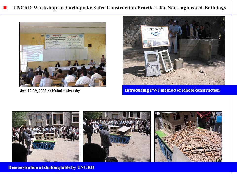 Jun 17-19, 2003 at Kabul university UNCRD Workshop on Earthquake Safer Construction Practices for Non-engineered Buildings Introducing PWJ method of school construction Demonstration of shaking table by UNCRD