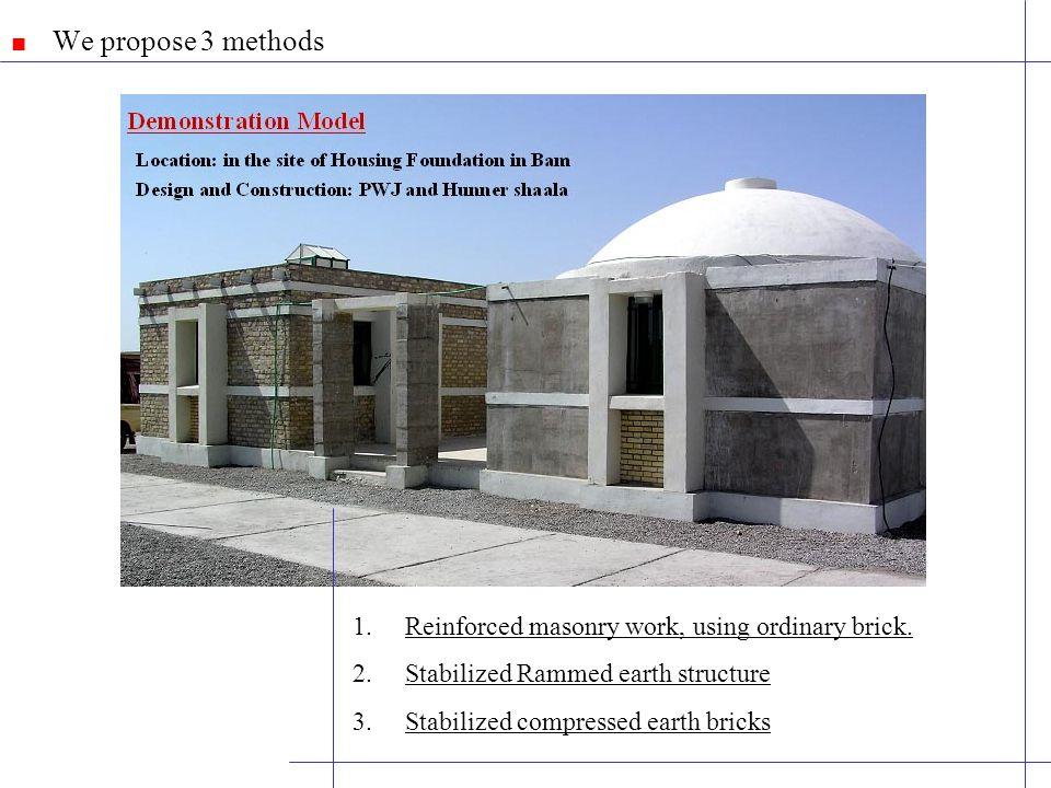 We propose 3 methods 1.Reinforced masonry work, using ordinary brick.