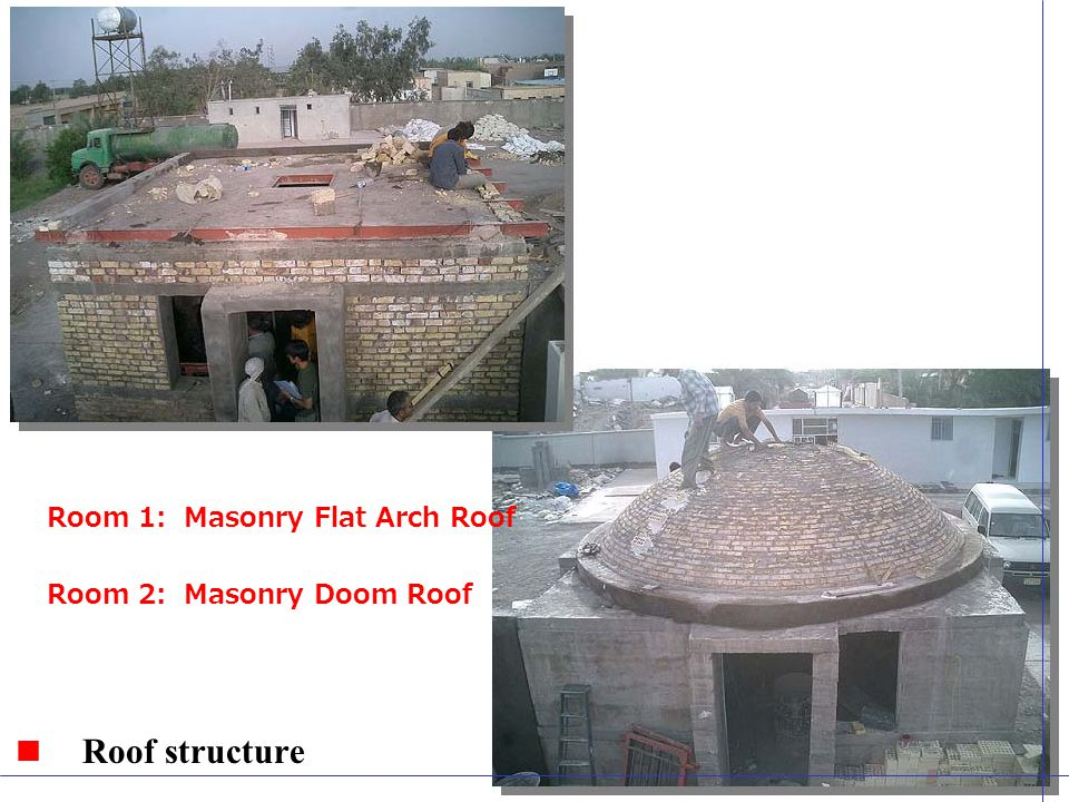 Roof structure Room 1: Masonry Flat Arch Roof Room 2: Masonry Doom Roof