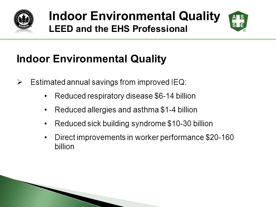 Indoor Environmental Quality Estimated annual savings from improved IEQ: Reduced respiratory disease $6-14 billion Reduced allergies and asthma $1-4 b