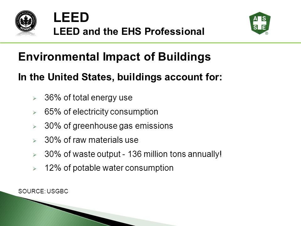 LEED ® Awareness In the United States, buildings account for: 36% of total energy use 65% of electricity consumption 30% of greenhouse gas emissions 3