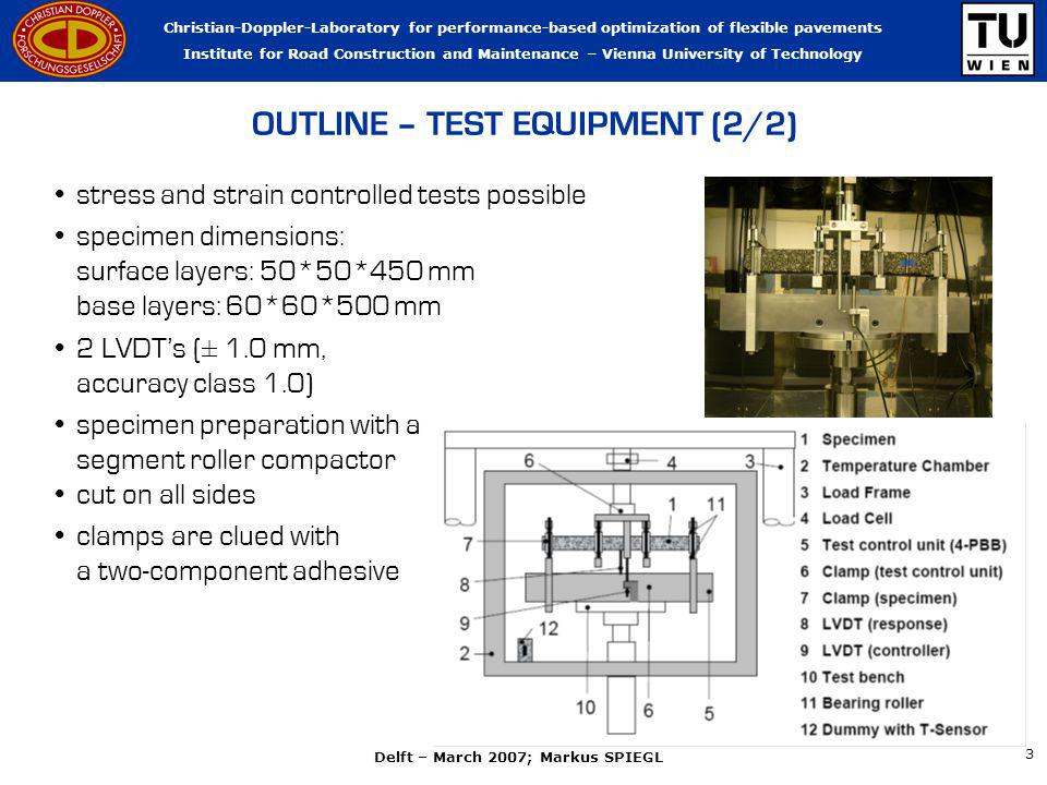 Christian-Doppler-Laboratory for performance-based optimization of flexible pavements Institute for Road Construction and Maintenance – Vienna University of Technology Delft – March 2007; Markus SPIEGL 3 OUTLINE – TEST EQUIPMENT (2/2) stress and strain controlled tests possible specimen dimensions: surface layers: 50*50*450 mm base layers: 60*60*500 mm 2 LVDTs (± 1.0 mm, accuracy class 1.0) specimen preparation with a segment roller compactor cut on all sides clamps are clued with a two-component adhesive
