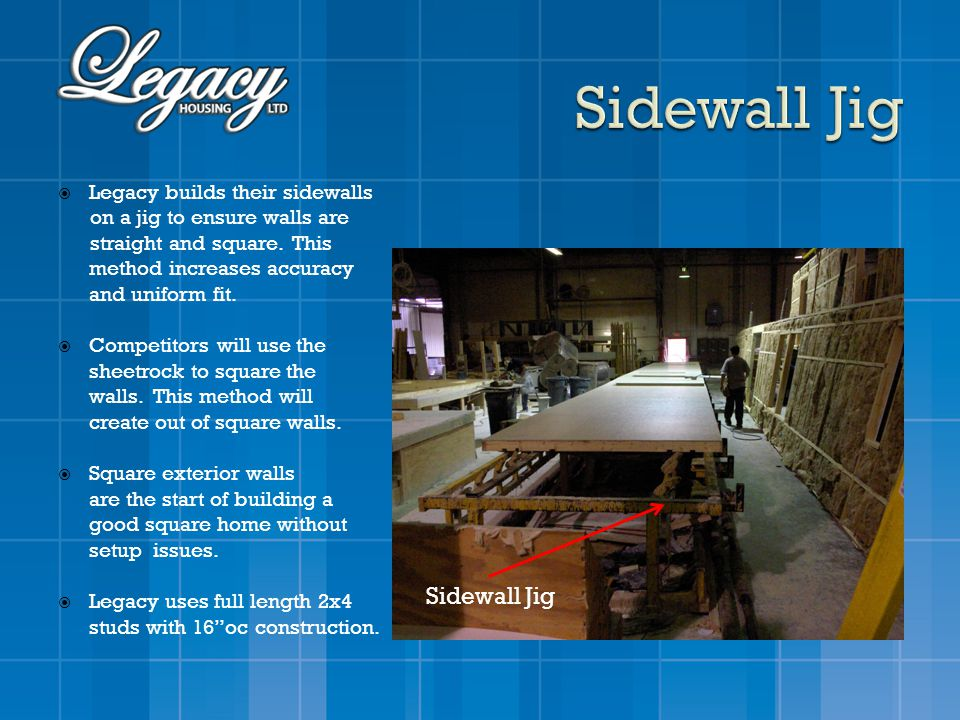Legacy builds their sidewalls on a jig to ensure walls are straight and square. This method increases accuracy and uniform fit. Competitors will use t