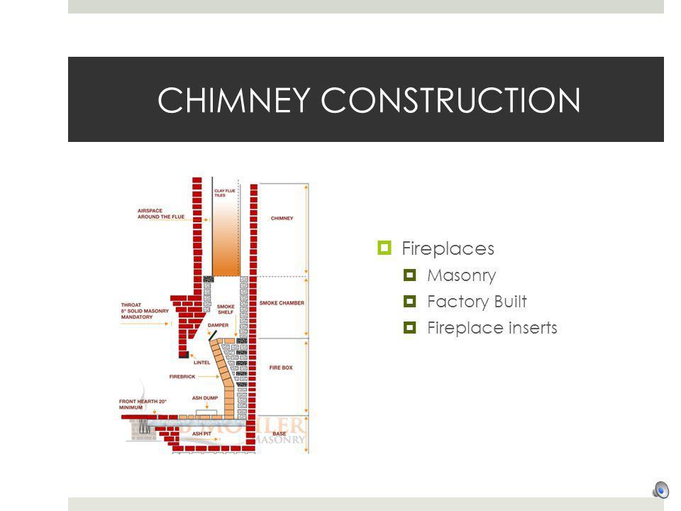 CHIMNEY CONSTRUCTION Fireplaces Masonry Factory Built Fireplace inserts
