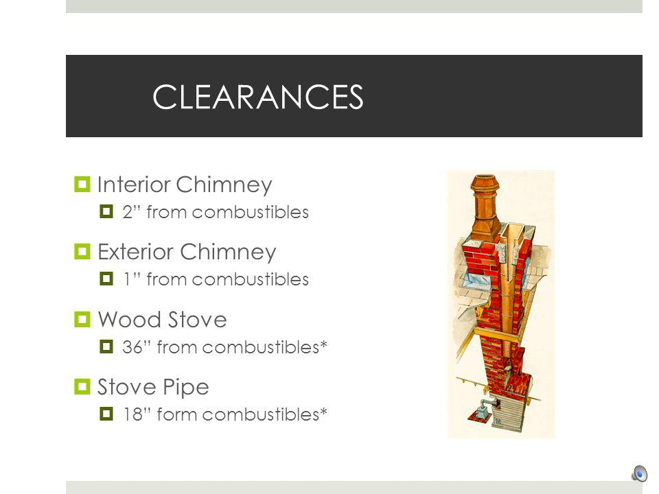 CLEARANCES Interior Chimney 2 from combustibles Exterior Chimney 1 from combustibles Wood Stove 36 from combustibles* Stove Pipe 18 form combustibles*