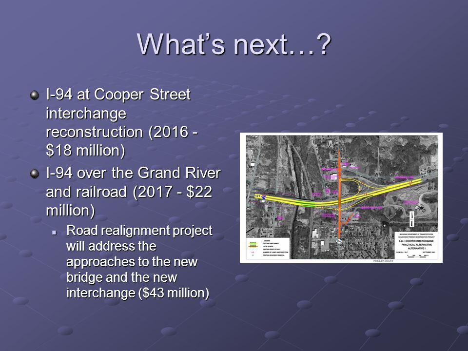 Whats next…? I-94 at Cooper Street interchange reconstruction (2016 - $18 million) I-94 over the Grand River and railroad (2017 - $22 million) Road re