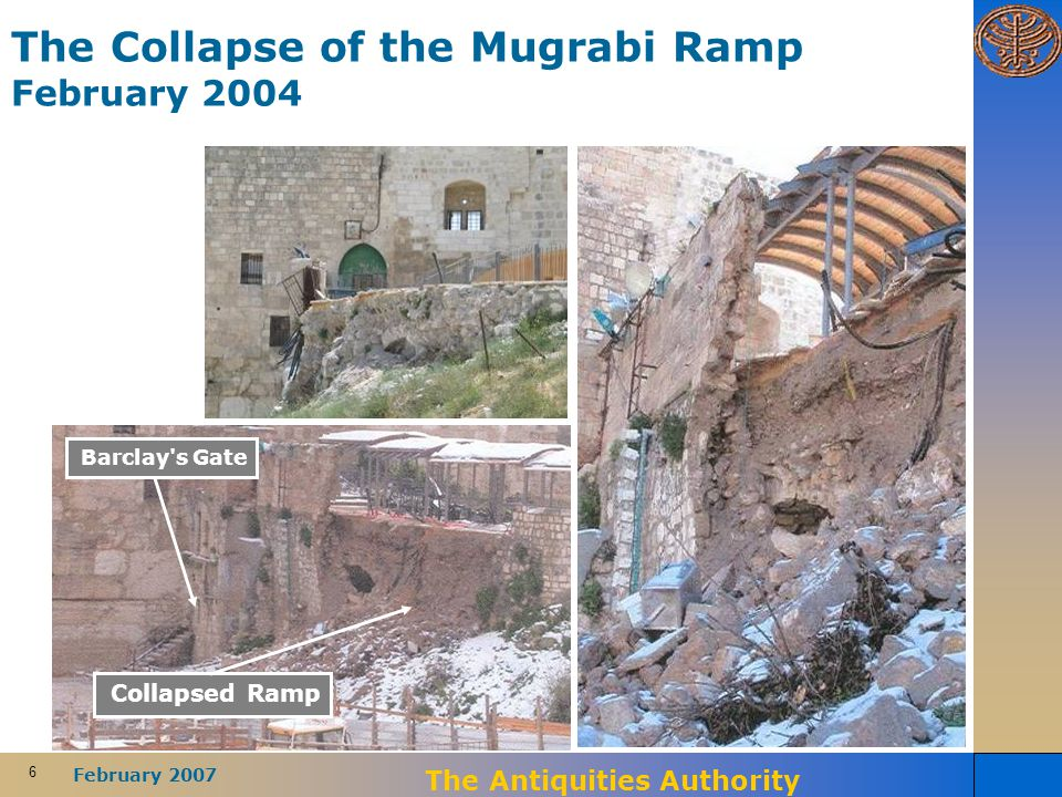 6 February 2007 The Antiquities Authority The Collapse of the Mugrabi Ramp February 2004 Barclay's Gate Collapsed Ramp
