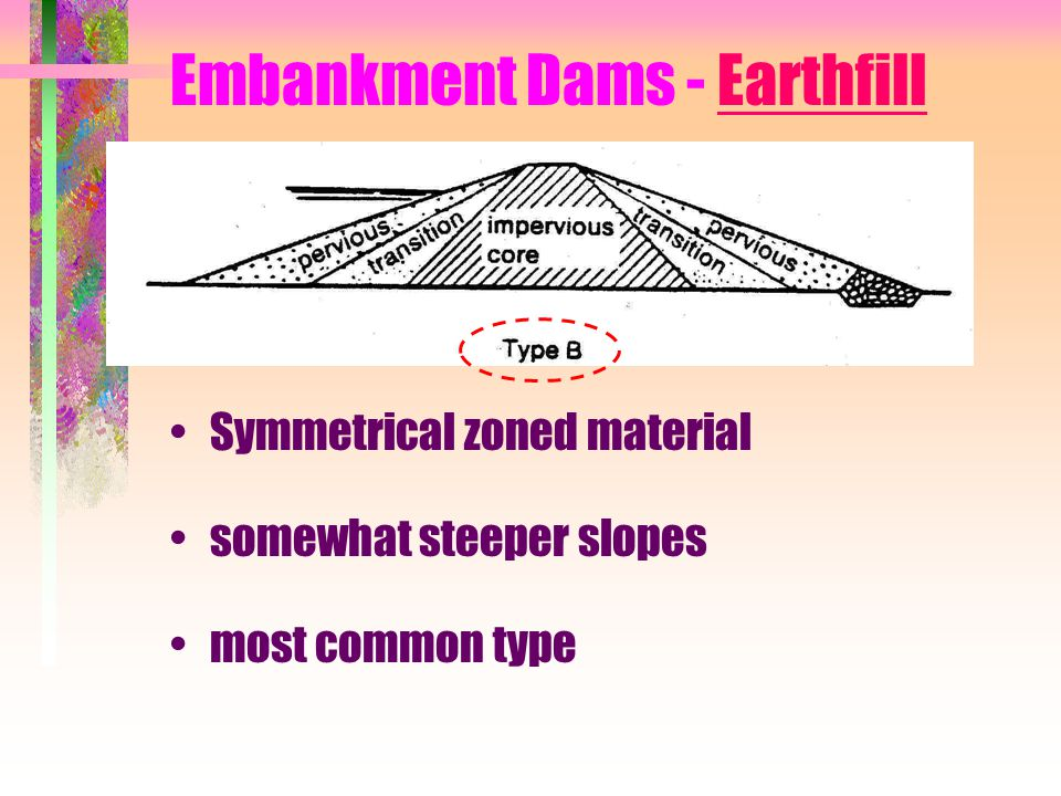 Embankment Dams - Earthfill Symmetrical zoned material somewhat steeper slopes most common type