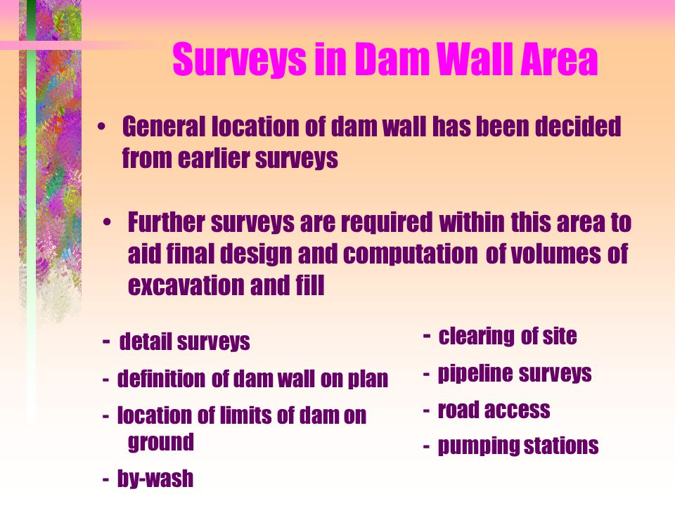Surveys in Dam Wall Area General location of dam wall has been decided from earlier surveys Further surveys are required within this area to aid final