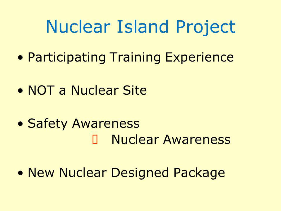 Nuclear Island Project Participating Training Experience NOT a Nuclear Site Safety Awareness Nuclear Awareness New Nuclear Designed Package
