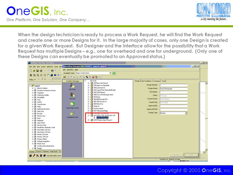 Copyright © 2005 O ne GIS, Inc. O ne GIS, Inc. One Platform, One Solution, One Company… When the design technician is ready to process a Work Request,