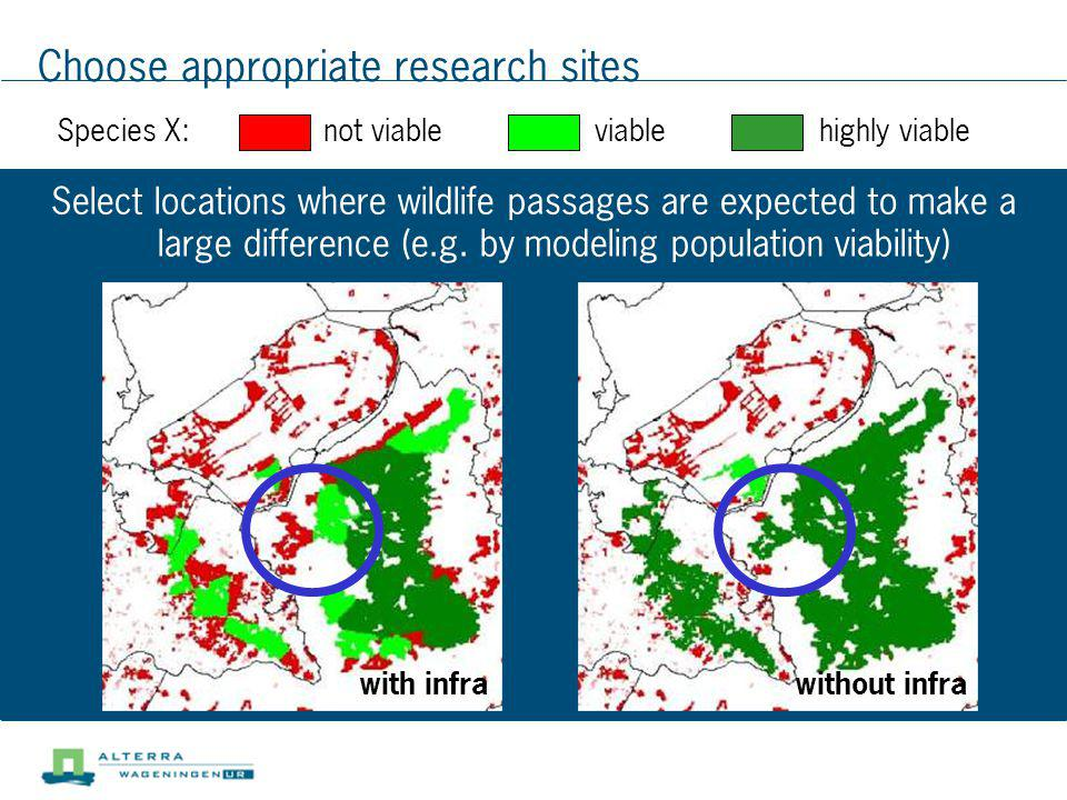Choose appropriate research sites Select locations where wildlife passages are expected to make a large difference (e.g. by modeling population viabil