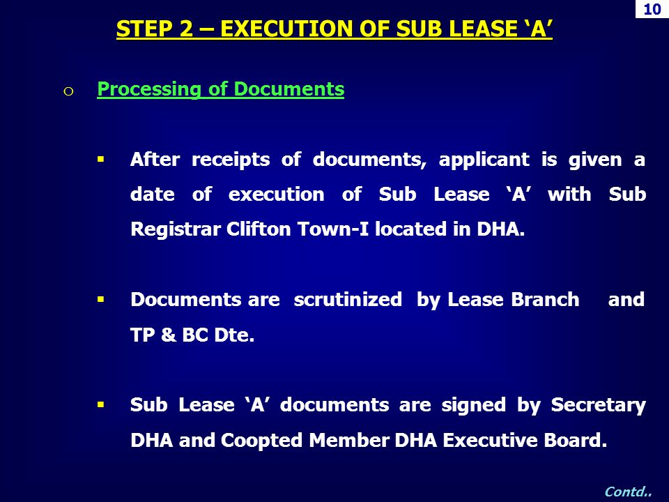 10 STEP 2 – EXECUTION OF SUB LEASE A Contd.. o Processing of Documents After receipts of documents, applicant is given a date of execution of Sub Leas