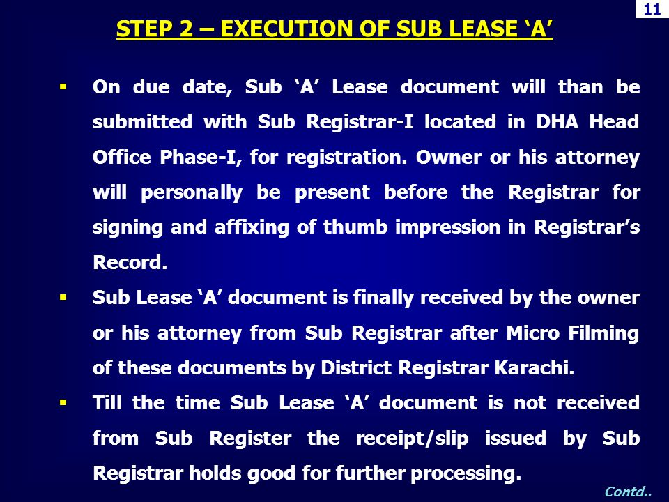 On due date, Sub A Lease document will than be submitted with Sub Registrar-I located in DHA Head Office Phase-I, for registration. Owner or his attor