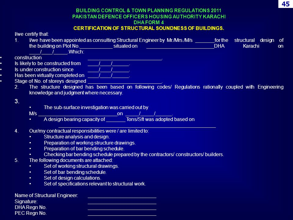 BUILDING CONTROL & TOWN PLANNING REGULATIONS 2011 PAKISTAN DEFENCE OFFICERS HOUSING AUTHORITY KARACHI DHA FORM 4 CERTIFICATION OF STRUCTURAL SOUNDNESS