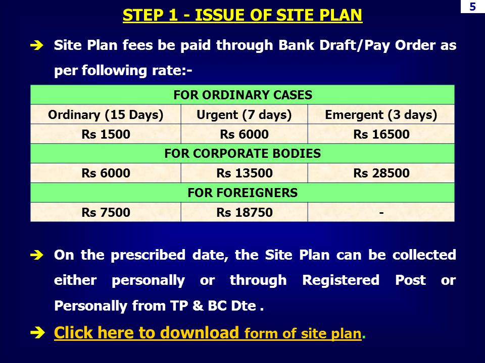 5 STEP 1 - ISSUE OF SITE PLAN FOR ORDINARY CASES Ordinary (15 Days)Urgent (7 days)Emergent (3 days) Rs 1500Rs 6000Rs 16500 FOR CORPORATE BODIES Rs 600