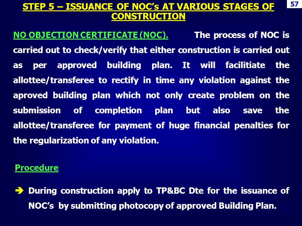 NO OBJECTION CERTIFICATE (NOC).The process of NOC is carried out to check/verify that either construction is carried out as per approved building plan