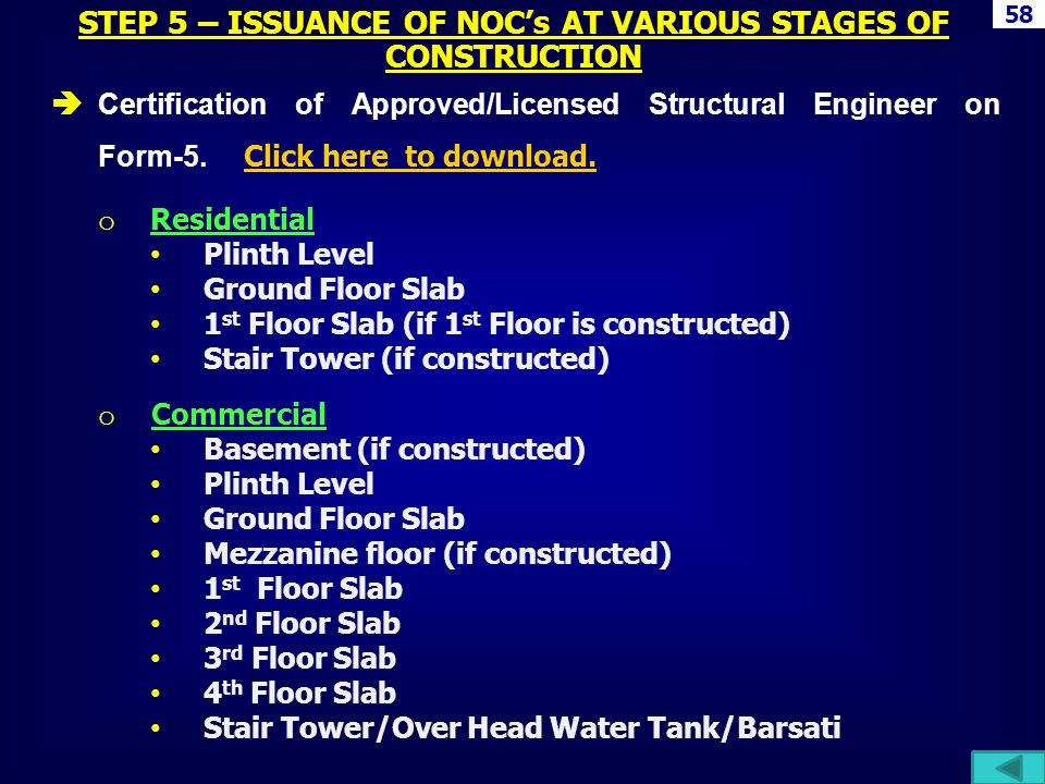 Certification of Approved/Licensed Structural Engineer on Form-5. Click here to download. Click here to download. o Residential Plinth Level Ground Fl