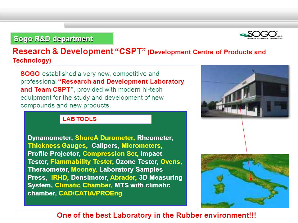Research & Development CSPT (Development Centre of Products and Technology) SOGO established a very new, competitive and professional Research and Development Laboratory and Team CSPT, provided with modern hi-tech equipment for the study and development of new compounds and new products.