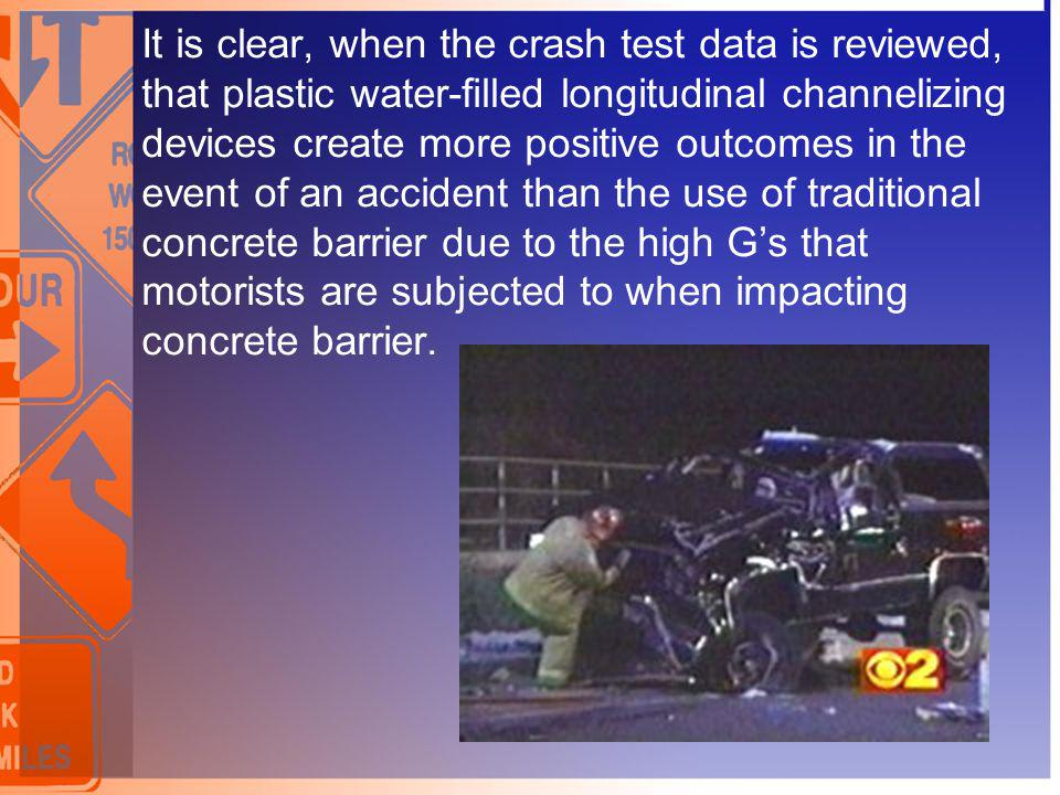 It is clear, when the crash test data is reviewed, that plastic water-filled longitudinal channelizing devices create more positive outcomes in the ev