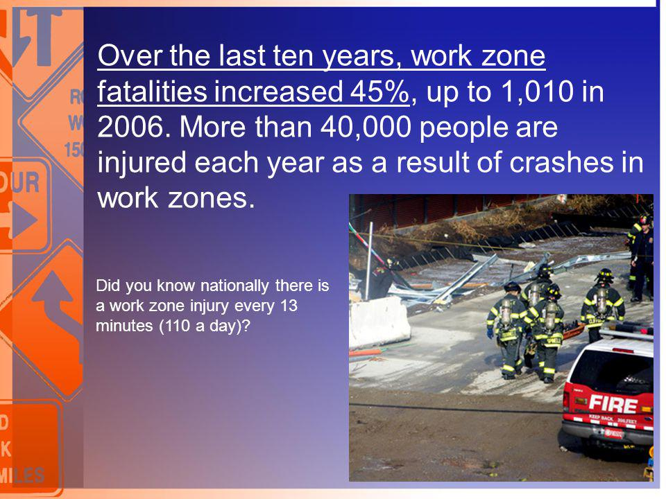 Over the last ten years, work zone fatalities increased 45%, up to 1,010 in 2006. More than 40,000 people are injured each year as a result of crashes