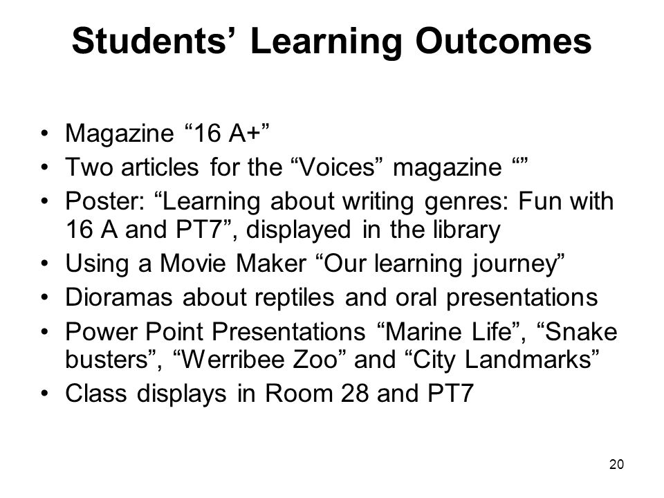 Students Learning Outcomes Magazine 16 A+ Two articles for the Voices magazine Poster: Learning about writing genres: Fun with 16 A and PT7, displayed