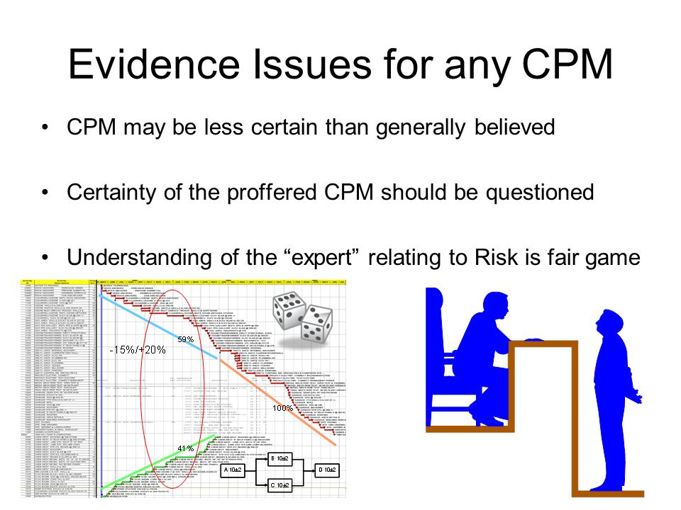 Evidence Issues for any CPM CPM may be less certain than generally believed Certainty of the proffered CPM should be questioned Understanding of the e