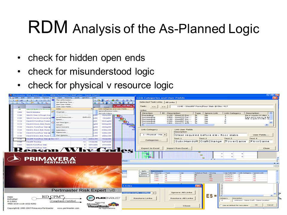 RDM Analysis of the As-Planned Logic check for hidden open ends check for misunderstood logic check for physical v resource logic Day 10 A 20 B 10 FF5